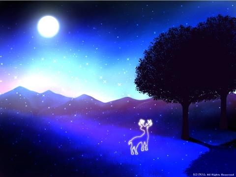 「シルエットアート風景」05「月と光とトナカイと。」