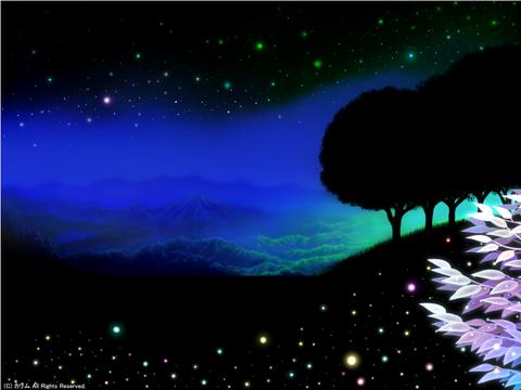 「シルエットアート風景」12「山の風景」(ファンタジー)