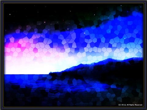 「ステンドグラスな風景」03「海のある風景‐夜の帳が下りて‐」