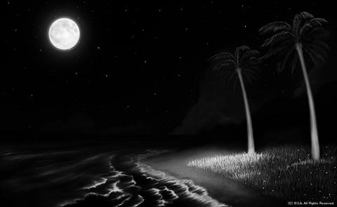 「南の小島と夏の海」04「夜の帳が下りて」(モノクロ)