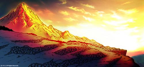 「山の風景ワイド」04「夕日を浴びて」