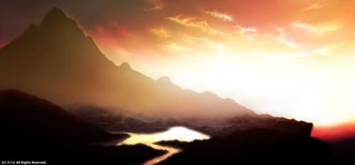 「山の風景ワイド」05「夕日を浴びて」(real)