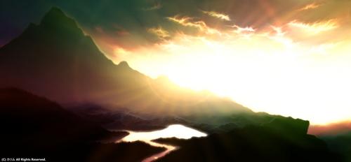 「山の風景ワイド」06「夕日を浴びて」(real)完成