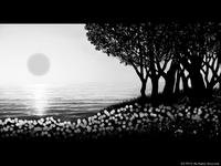 「海辺の風景」 01「陽 沈む時」(モノクロ)