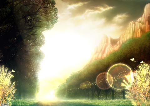 「風景画2014」04「山のある風景」04+詩「生命の輝き」
